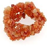 Peach Aventurine Gemstone Chip Cuff Bracelet