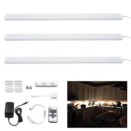 Bonlux 50CM 12V LED Rígido tira de iluminación kit blanco cálido 3000K 10W LED barra de luz de la tira para debajo del armario de la cocina Armario, exhibición de la joyería Showcase, iluminación del armario (paquete de 4)