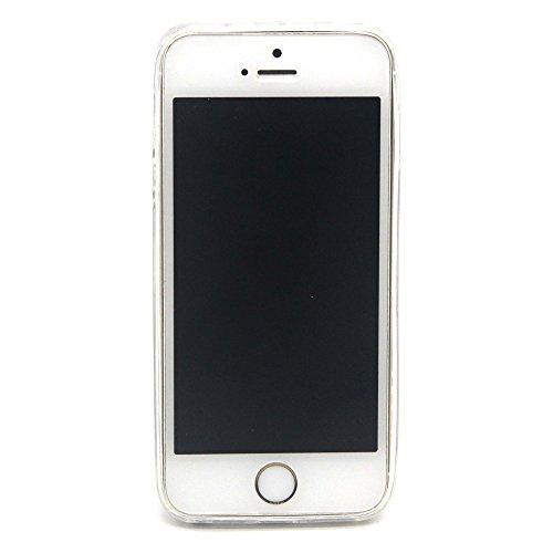 Custodia per iphone 5, Ultra Slim Case per Apple iphone 5S, iphone 5/5S Plus Case Cover, Ukayfe Trasparente Morbido Copertura per iphone 5, TPU Crystal Clear antigraffio con blu piuma Cover posteriore lupo
