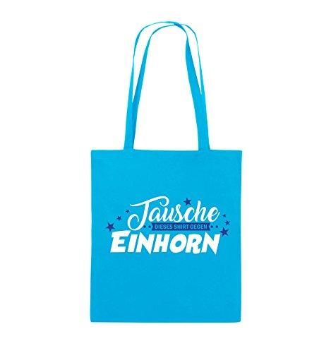 Comedy Bags - Tausche dieses Shirt gegen Einhorn - Jutebeutel - lange Henkel - 38x42cm - Farbe: Schwarz / Weiss-Neongrün Hellblau / Weiss-Royalblau
