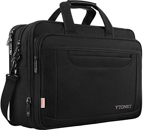 ytonet Laptop Aktentasche, 39,6cm Laptop Tasche, Business Office Tasche für Herren Damen, Stilvolle Nylon Multifunktions Schulter Messenger Bag Schwarz Dark Black-17 inch -