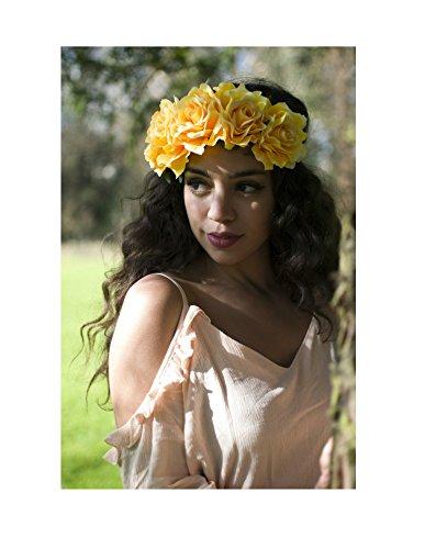 Starcrossed Beauty Big Festival T57 Grand bandeau couronne de roses Jaune