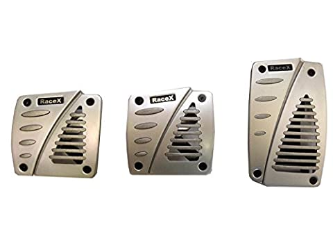 XtremeAuto® BRUSHED SILVER 3 Piece Alloy Racing Foot Pedal Cover Set for Manual Transmission Car.