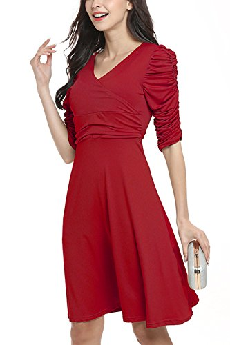 Sommerkleid, WIWIQS Art und Weiseklassische Abschlusskleid Kleid Garten Dame Dress, Burgund S