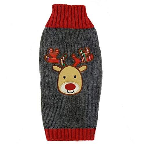 Niedliche Festive Weihnachten grau & rot Hund Katze Warm Winter Gestrickt Rentier Jumper Rudolph Plaid Geweih