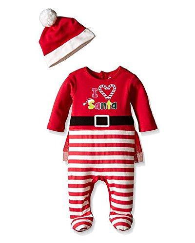 2 pacchi Bello Natale Style Pagliaccetto + Cap Vestiti Set Regalo per il Bambino Ragazzo Ragazza Rosso