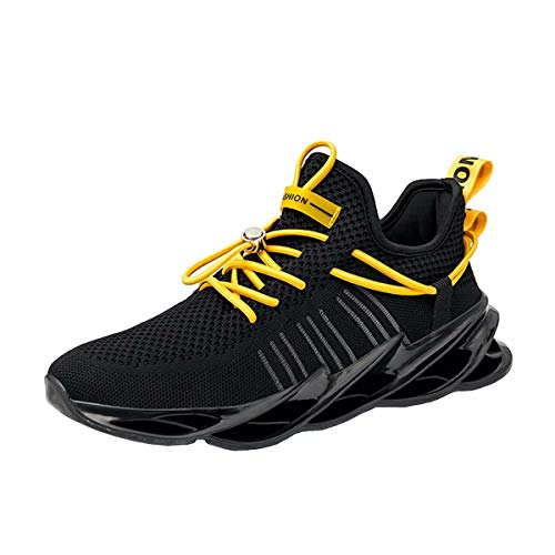 Mens Running Shoes Lightweight Trainers Walking Breathable Sneakers Casual Running Shoes Sports Black 41
