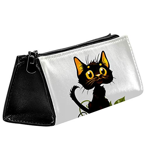 EZIOLY schwarze Katze auf Halloween Kürbis Stiftebeutel Schreibwaren Beutel Bleistifttasche Kosmetiktasche Tasche Kompakt Reißverschluss