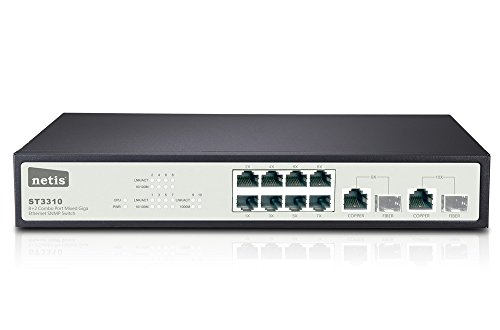Snmp-net (Netis 8 FE + 2 Combo-Port Gigabit Ethernet SNMP Switch, 5.6 Gbps Switching Stoff Kapazität (st3310))