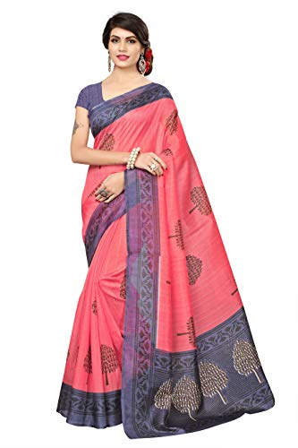 Oomph! Art Silk Saree with Blouse Piece (rbks_festival082_Pink_Free Size)