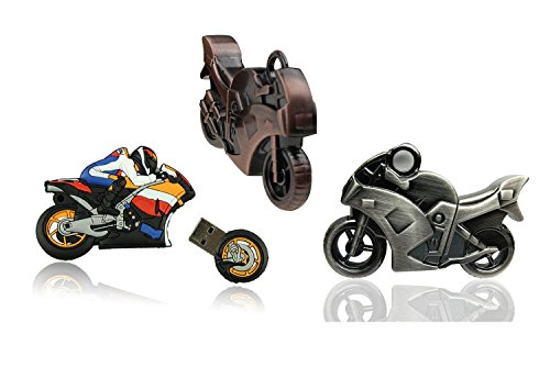 Shooo 3 pack 32gb strong motociclo chiavetta usb memory stick(mixed: cartoon,copper,leaden)