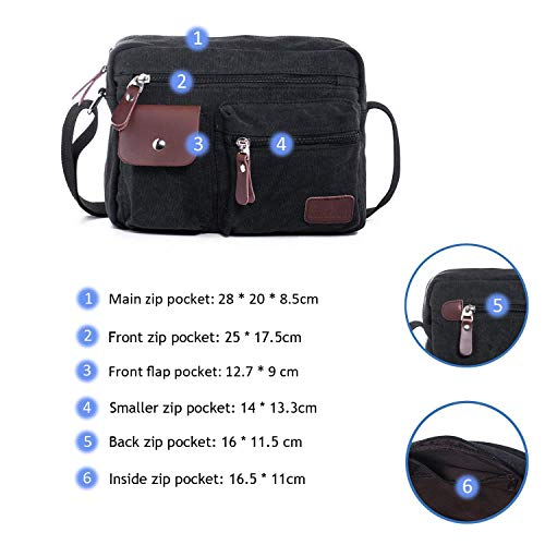 4e9cdcc71f Hengwin Shoulder Bag Canvas Small Cross Body Bag Multi Pockets Messenger  Handbag Leisure Satchel Purse for Men and Women Holiday Work Flight Trip  Sports