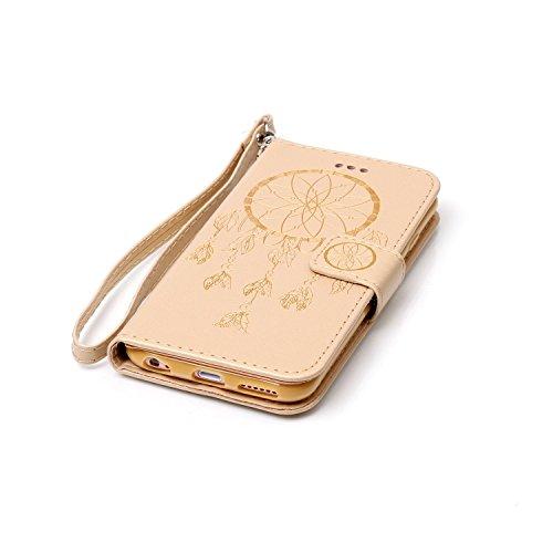 iPhone 6 6S Hülle,iPhone 6 6S Ledertasche Brieftasche im BookStyle,Cozy Hut Handyhülle iPhone 6 6S [Flügel] Muster PU Leder Tasche Schutzhülle Folio Magnetverschluss Flip Case Wallet Taljereep Handyta Gold Campanula