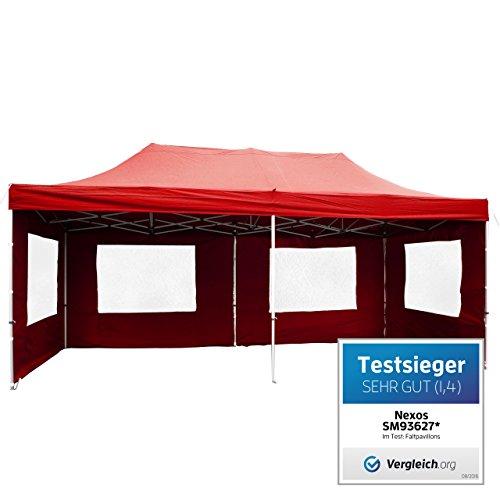 PROFI Faltpavillon Partyzelt Pavillon 3x6 m mit Seitenteilen - hochwertige Ausführung - wasserdichtes Dach mit PVC-coating - 270 g/m² incl. Tragetasche und Zubehör – Farbe: rot