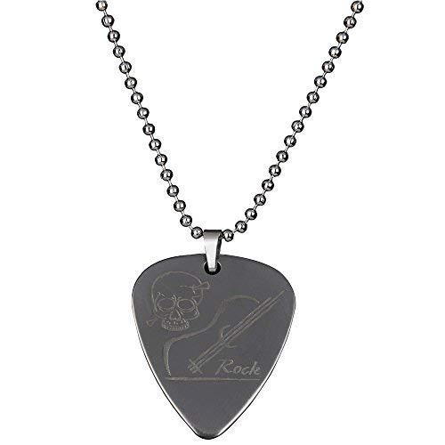 PUNK Halskette, Anhänger Plektron, aus Edelstahl für E-Bass, -Gitarre, kreatives Design Skeleton and guitar