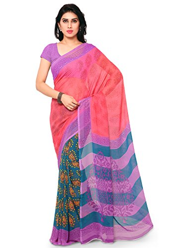 Surat Tex Pink & Blue Color Corsa Georgette Printed Casual Wear Saree with Blouse Piece-I637SESD-26  available at amazon for Rs.399