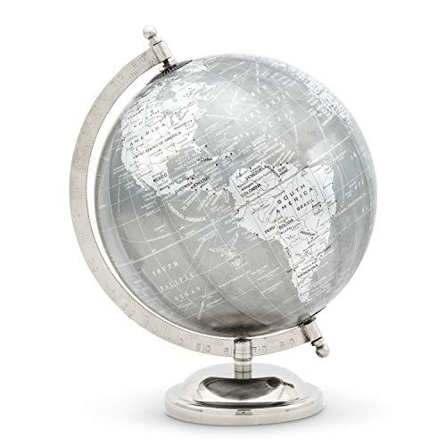 Abbott Collection 57-LATITUDE-12 Globus auf Ständer, Grau/Silber, 27,9 cm H