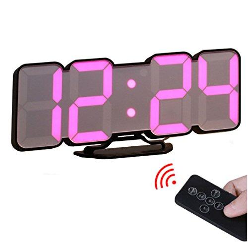 EAAGD 3D digital control remoto inalámbrico despertador Reloj de pared - LED digital 115 variaciones colores, modo de voz, 3 niveles brillos se ajusta,con control remoto (Negro)