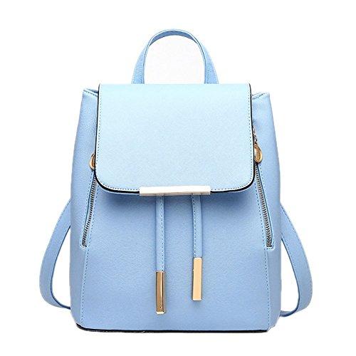 Deley Ladies Casual Preppy Style Tote Handbag School Girl Zaino Doppia Borsa A Tracolla Blu