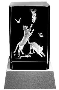 Glass Block 3D Laser Crystal with LED Lighting Cat Motif by Kaltner Präsente