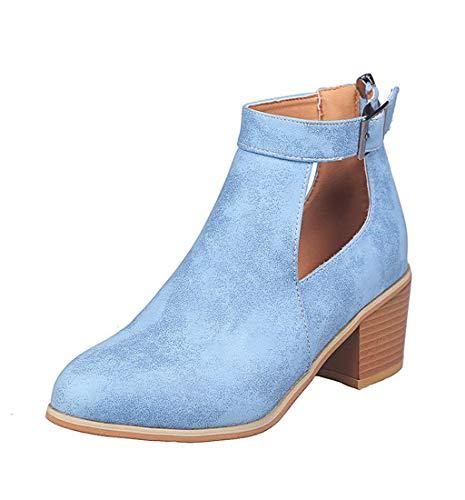 HupoopDamen Damenmode Knöchel Kurze Stiefel quadratische Absätze römische Starke Absätze Schuhe(Blau,40) - Stiefel Frauen, Quadratische Spitze Für