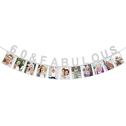 60 & Fabulous Photo Banner - Happy 60 Years Birthday or 60th Wedding Anniversary Party Decorations (Dekorationen Party Birthday Barbie)