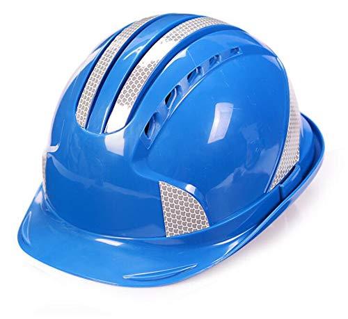 Yuke Wujin ABS Helmet Construction Engineering Traspirante antiacaro Imbottitura Riflettente Bar Casco Multi-Colore Opzionale (Colore : Blu)