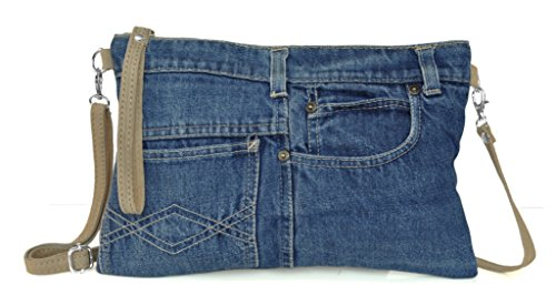 Lae In Sac Pochette -Jeans Recyclé et Cuir Veau Velours - Made in Italy - Plusieurs teintes (denim brut, stone washed, bleached.)