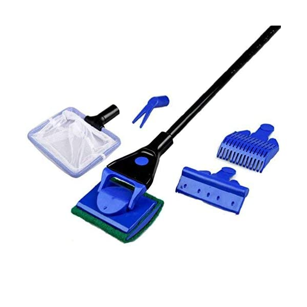 Tinksky Fish Tank Cleaning Kit 5 in 1 Aquarium Fish Glass Tank Cleaning Kit(Blue+Black)