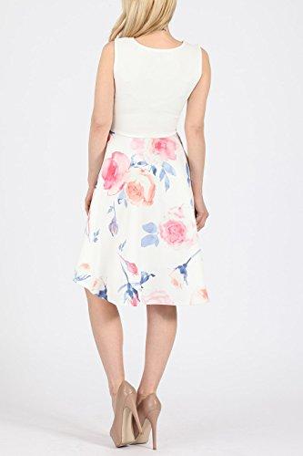 Mesdames Filles Floral Haut-Bas Robe patineuse EUR Taille 36-44 Floral Bleu