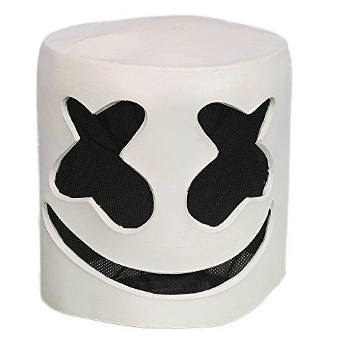 Cosplay Kostüm Helm Voll Kopf Weiß Latex Maske Verrückte Kleid Replik für Erwachsene Halloween Zubehör (Kleid Maske Kostüme)
