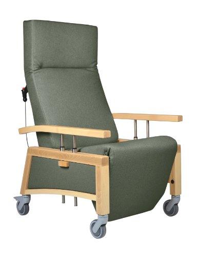 DEVITA - Pflegesessel Seniorensessel Relaxsessel NARONA Relax mit Rollen, versenkbare Armlehnen und elektrisch Verstellbarer Rückenlehne - mit Netzstecker - Buche hell, Green mikrofaser