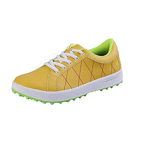 Mhwlai Scarpe da Golf Impermeabili da Donna, Scarpe da Golf in Pelle in Microfibra, Scarpe da Golf Spikeless Resistenti all'Usura Antiscivolo Traspiranti 34-39,Yellow,37