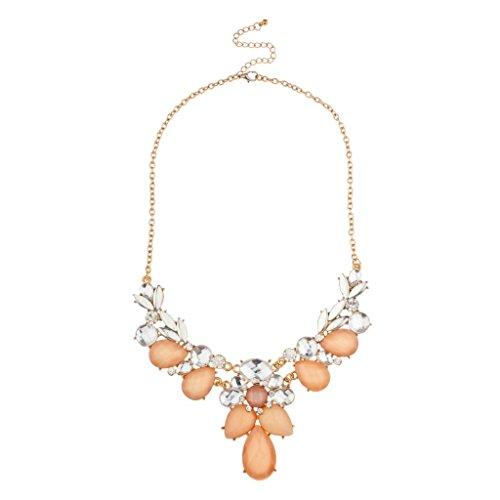 Lux Accessories - Rosa Pfirsich Klar Facettiert Stein Cluster Statement-Halskette Tiffany Toggle Halskette