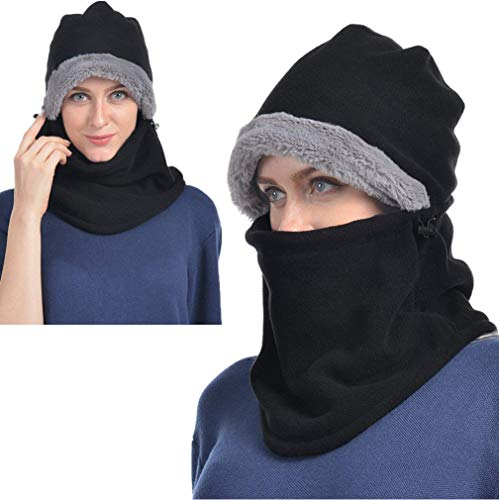 Black Winter Hats for Women Fleece Balaclava Hood Thermal Womens Balaclavas Ear Warmers Ski Face Cover Mask Neck Protective Headgear Cap Snowboard Weather Outdoor Fashion Gifts Ladies Men Warm Hat