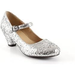Salon Merceditas en Glitter Plata para Niñas con Tacon Ancho.32