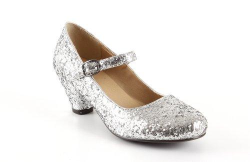 Salon Merceditas Glitter Plata Niñas Tacon