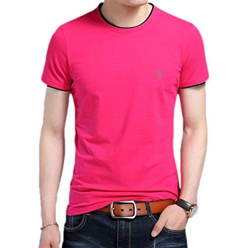 Männer Sommer Bodenbildung Shirt Rundhals Baumwolle Jugend Casual Fashion Solid Color Kurzarm T-Shirt,RoseRed-XL (Jugend Zeit T-shirt)