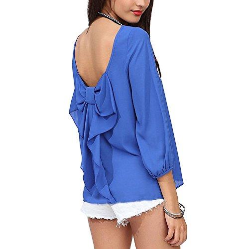 Pinkyee Women's Loose, rückenfrei, Schleife, Knoten, Bluse langarm Shirt Blau - Blau