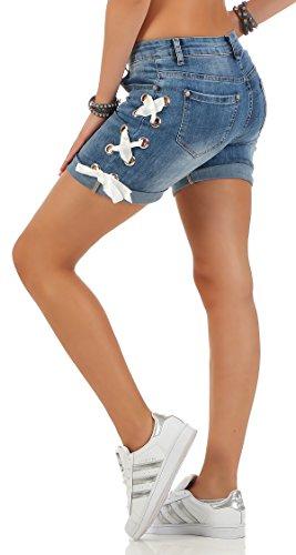 SKUTARI Kurze Damen Hosen Jeans Shorts Baggy Boyfriend Blau4
