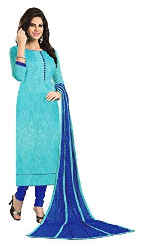 Blissta Sky Blue Bhagalpuri Embroidered Party Wear Dress Material