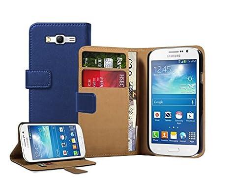 Membrane - Bleu Portefeuille Etui Coque Samsung Galaxy Grand Neo (GT-i9060, GT-i9060DS, GT-i9060L) - Wallet Case Housse + 2 protections d