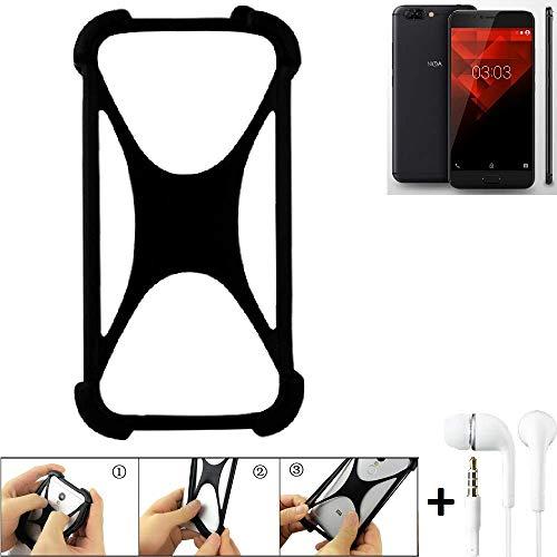 K-S-Trade Handyhülle NOA H10le Bumper Schutzhülle Silikon Schutz Hülle Cover Case Silikoncase Silikonbumper TPU Softcase Smartphone, schwarz (1x), Headphones