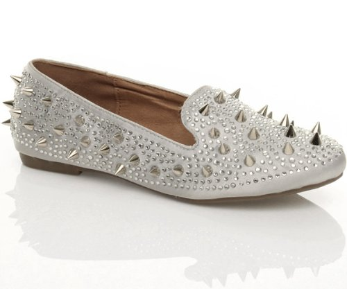 Femmes plat petit talon pointe clouté ballerina mocassins chaussures pointure Gris