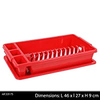 URBN Living Medium Red Dish Rack with Tray
