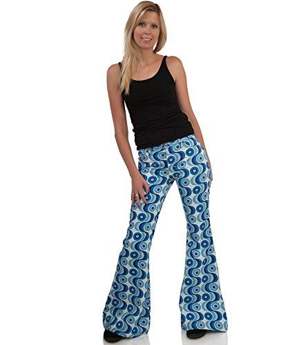 70er Waves Blau Hippie Muster Schlaghose Blau hellblau weiß