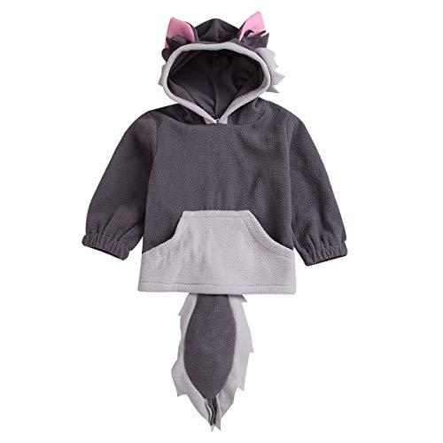 HAOKTY Baby Mädchen Jungen Streetwear Pullover Kapuzenpullover Frühlung Herbst Winter mit Kapuze Kleinkinder warm Kleidung mit Tierisch Ohren Schwanz (Grau, 110(3Jahren-4Jahren)) (Tierische Kostüm Ohren)