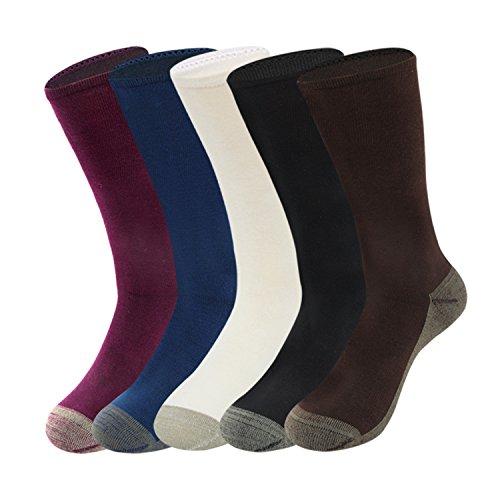 GATHER OTHER 5 Paar Antibakterien Anti-Geruchs-Socken mit Kupfer-Faser Bambus Socken Sportsocken für Damen,Schmale Ribtop (Damen Dry-faser)