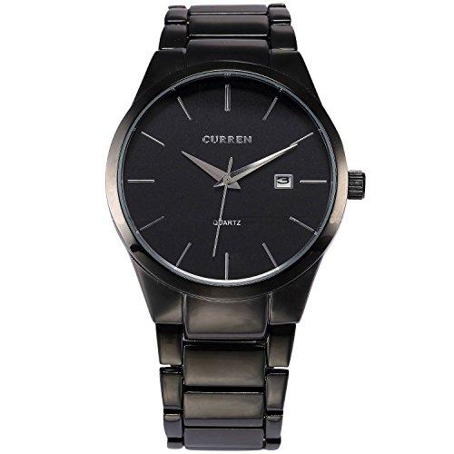 XLORDX Montre Bracelet Classique Homme Bracelet Acier Inoxydable Date Analog Quartz Sport Noir