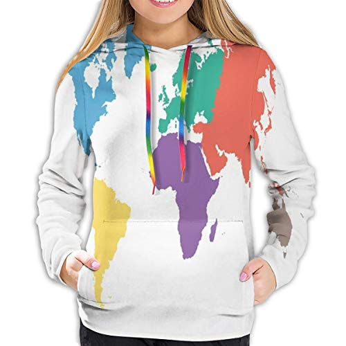 Women's Hoodies Tops,Continents of The World In Regions Lands Global International Theme,Lady Fashion Casual Sweatshirt,XL